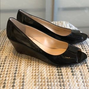 Sole Society black patent peep toe wedge